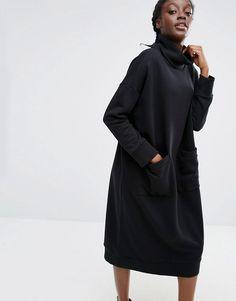 Monki | Трикотажное платье-джемпер с воротником поло Monki
