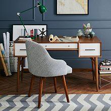 Mid-Century Desk - Acorn + White