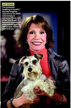 fearthebeards:    Celebrities Love Schnauzers: Mary Tyler Moore