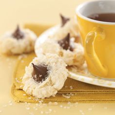 Homemade Macaroon Kisses Recipe -These cookies are sure to delight the coconut and chocolate lover. The combination will to be irresistible to everyone. —Ms. Lee B. Roberts, Racine, Wisconsin