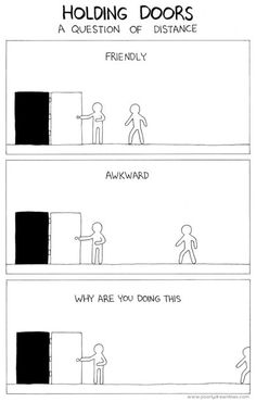 Holding doors, a question of distance