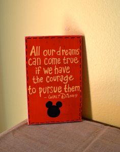 Custom Mickey Mouse Walt Disney Quote Wood Wall by GiftsbyGaby