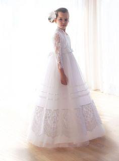 sukienki komunijne - communion dress - tiulowa sukienka komunijna z koronkowym wdziankiem