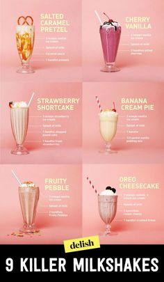 This summer, whip up your own milkshakes with these easy recipes, instead of heading to the local diner. Easy Milkshake Recipe, Banana Shake Recipe, How To Make Milkshake, Homemade Milkshake, How To Make Drinks, Yummy Smoothie Recipes, Shake Recipes, Yummy Drinks, Best Milkshakes