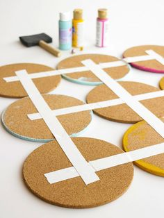 Cork Reuse Projects Cork transforms easily into coasters, memo boards, pushpins, tiles, and more. It's a great material to use to create function and beauty in your home. Make Your Own Pins, Make It Yourself, Dollar Store Hacks, Dollar Stores, Cork Tiles, Shabby Chic Flowers, Ideias Diy, Cork Coasters, Easy Home Decor