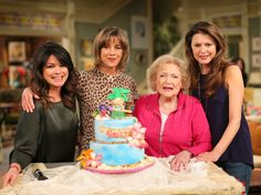 Betty White With Valerie Bertinelli, Wendie Malick, and Jane Leeves CelebratingHer 93rd Birthday on the Set of Hot in Clevelandon January 16, 2015