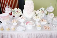 Love the mixture of ruffles, lace and milk glass!  Adds such a touch of class.