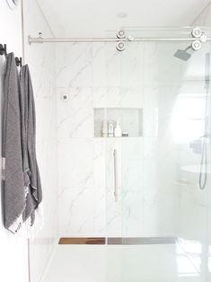 Design a Gorgeous Marble Shower (on a budget!) - THE SWEETEST DIGS Spa Like Bathroom, Bathroom Layout, Bathroom Colors, Bathroom Interior, Master Bathroom, Bathroom Ideas, Bathroom Vanities, Bathroom Hacks, Bathroom Showers