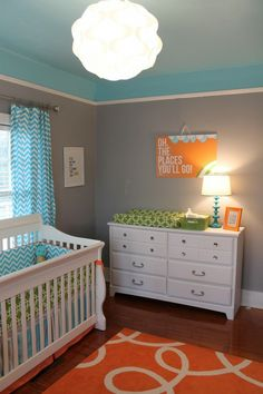 Not that its a nursery-- I like the high up chair rail. Paint top same as ceiling to make our low ceilings feel taller.