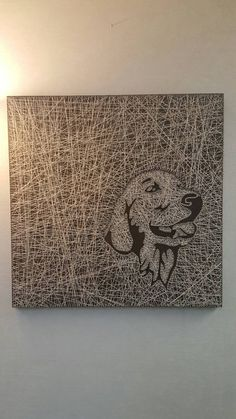 Golden Retriever String Art 24x24 wood stain with cream string made to order