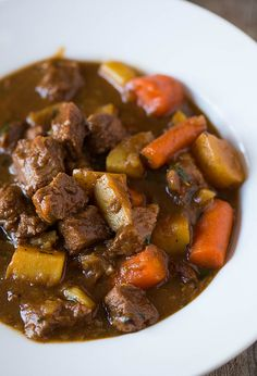 Guinness Beef Stew- this is the recipe I got from Cooks Country. You dont sear the beef before hand...what a difference it makes. This is the BEST beef stew ever.