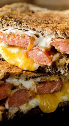 For my husband on a cheat day.... right up his alley. Smoked Sausage Triple Grilled Cheese