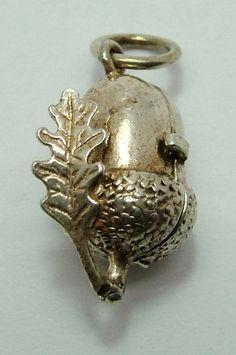 Vintage silver opening acorn and oak leaf charm with squirrel inside Vintage Charm Bracelet, Charm Jewelry, Vintage Jewelry, Fine Jewelry, Memento, Silver Bracelets, Charm Bracelets, Pandora Bracelets, Bangle