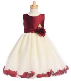 Burgundy/Ivory Shantung and Tulle Flower Petal Dress