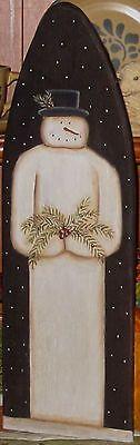 Primitive HP Folk Art Snowmen Greens Berries Winter Stretcher | eBay