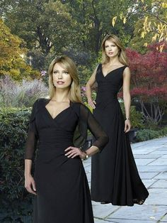 Chiffon Empire Floor Length 3/4 Sleeves V-neck Elegant Mother Of Brides Dress
