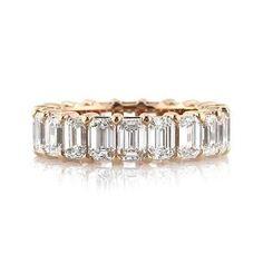 Dream Ring. 6.30ct Emerald Cut Diamond Eternity Band in 18k Rose Gold #DiamondEternityRings