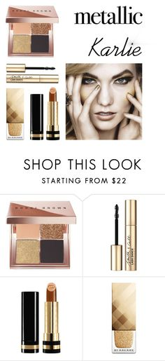 """Mettalic Karlie"" by alihorin on Polyvore featuring beauty, Bobbi Brown Cosmetics, Smith & Cult, Gucci, Burberry, gold, Model, karliekloss and karlie"