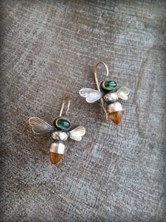Bee Earrings, Honeybee Earrings, Gemstone Bees, Bees with Citrine Cabochon, Apis…