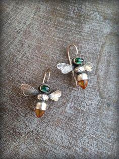 Bee Earrings Honeybee Earrings Gemstone Bees Bees with by TandBrie