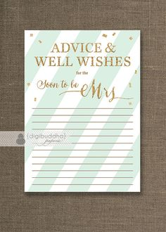 Mint & Gold Glitter Advice Card INSTANT DOWNLOAD 4x6 Soon to Be Mrs Bridal Shower Shabby Chic Advice Mint Green Printable or Printed- Stella...