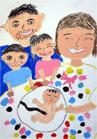 """Haru Kimura Wakayama Prefecture Japan 1st grade elementary school student This work titled """"We're Going to be a Five Person Family"""" was done in colored pencil and paint is about the new baby that is about to be born. From the big smiles everyone has on their faces we can guess that everyone in the family is excited about the new baby about to be born. Haru's picture suggests that she is an advanced artist for her age. It was carefully drawn and the picture shows an awareness of perspective."""