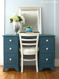 Seaside Blue Desk and Chair