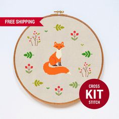 Fox Cross Stitch Kit Cute Animal Counted Easy Cross Stitch