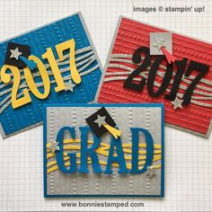 I decided to create a few graduations to share with you! I am using the Large Number Framelits and the Large Letter Framelits to complete my card,