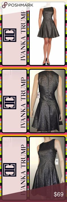 🆕Ivanka Trump Metallic Fit & Flare Dress Perfect for the holiday season, this Ivanka Trump fit and flare dress features an allover metallic sheen. Fully lined. Featured in black and silver metallic. Retails for $158.   Details: 👗Size 16 👗Crewneck 👗Sleeveless 👗Back zipper closure 👗Allover glitter knit 👗Material: Polyester 👗Care: Dry clean Ivanka Trump Dresses Mini