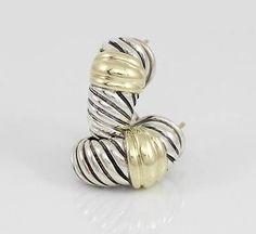 David Yurman Thoroughbred Shrimp Earrings 14K Gold Sterling Silver - http://designerjewelrygalleria.com/david-yurman/david-yurman-thoroughbred-shrimp-earrings-14k-gold-sterling-silver/