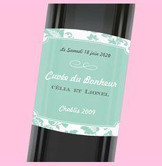 Etiquette de bouteille mariage personnalisable avec ses touches florales, réf.N3001006