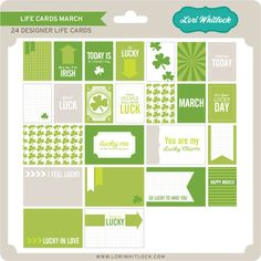 March mini kit that includes holiday and everyday themed cards in both 3x4 and 4x6. 24 Life Cards to celebrate your special days. designed by Lori Whitlock.