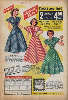 40s striped day dress blue red white dots green full skirt short sleeves color illustration print ad to early 50s vintage fashion style  stripes