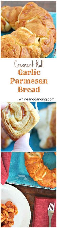Crescent Roll Garlic Parmesan Bread | whine and dancing | Garlic Parmesan Bread pinnable image with a scrumptious bite of the fresh baked bread and pictures of the Garlic Parmesan Bread served with meatball tortellini.