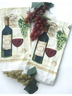 Wine and Grapes Kitchen Towels Set of 3 - eCrater Stores Network