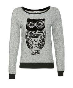 Grey Contrast Snowy Owl Sweater