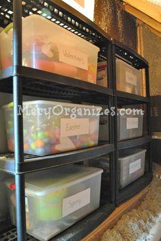 Storing Seasonal Decor - the shelf with bins