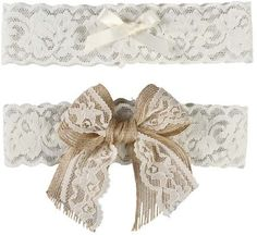 Ivy Lane Design Country Romance Bridal Garter Set, Large, Ivory