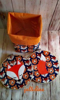 Décoration chambre enfant-Panière de rangement et cadre tambour pour décoration thème renard pour une joli déco! disponible sur commande