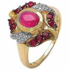 1.60CTW Genuine Glass Filled Ruby & Ruby.925 Sterling Silver