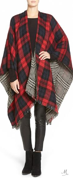 MODENA 'Double Plaid' Reversible Cape