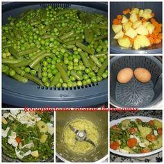 """Verduras con huevo y sofrito de cebolla en thermomix """"Varoma"""" Asparagus, Green Beans, Pasta, Vegetables, Healthy, Food, Chocolate, Fitness, Gastronomia"""