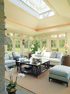 Gorgeous #sunroom with a skylight! YES PLEASE! (and a #fireplace !!!)