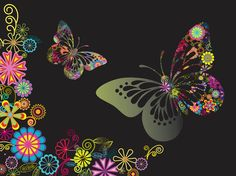 Flowers and spring vector footage of plants and butterflies. Flying insects, beautiful wings decorated with floral blossoms, blooming flowers, plants leaves and swirling stems. Free vector for spring, nature, flowers, plants, butterflies and floral designs. Graphics for backgrounds and posters. Butterflies And Flowers Graphics by garcya.us