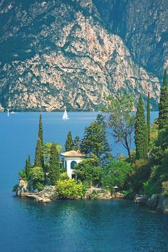 Villa on Lake Garda, near Nago–Torbole, Italy...