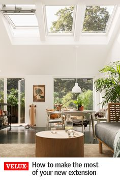 The perfect addition to awkward or light-challenged rooms, roof windows provide fantastic ventilation while allowing sunlight to flood down into your home. Generally highly thermally efficient, roof w Design Living Room, Living Spaces, Interior And Exterior, Interior Design, Roof Window, Roof Light, Window Styles, House Extensions, Open Plan Living