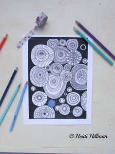 Concentric Circles hand-drawn coloring page by Heidi Hillman