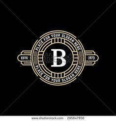 Vintage geometric vector frame with letter B. Art deco golden linear monochrome luxury hipster monogram. Logo design for Royal sign.