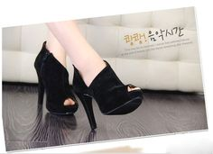 New Fashion Sexy Fish Mouth Women's Super-High Heel Shoes Pump Platform Velvet